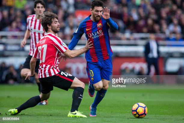 Leo Messi FC Barcelona defended by Yeray of Athletic Club during the Spanish championship La Liga match between FC Barcelona vs Athletic Club at Camp...