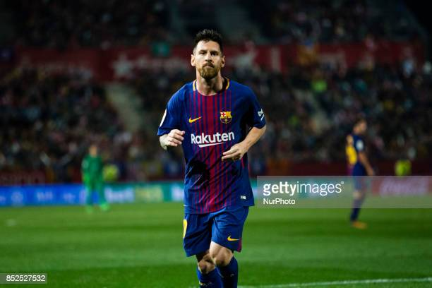 Leo Messi from Argentina of FC Barcelona during the La Liga match between Girona FC v FC Barcelona at Montilivi Stadium on September 23 2017 in...