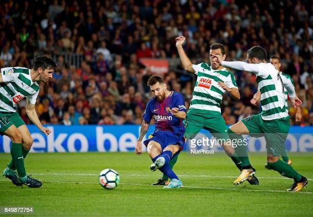 Leo Messi goal during La Liga match between FC Barcelona v SC Eibar in Barcelona on September 19 2017
