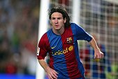 Leo Messi of Barcelona celebrates his second goal during the La Liga match between Barcelona and Espanyol at the Camp Nou stadium on June 9 2007 in...