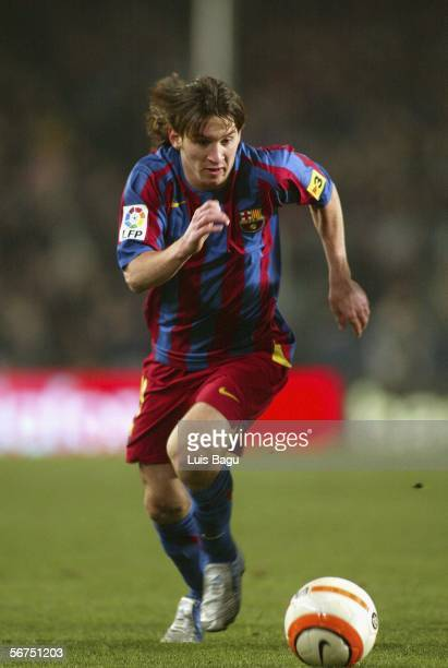 Leo Messi of Barcelona in action during the La Liga match between FC Barcelona and Atletico Madrid at the Camp Nou stadium on February 5 in Barcelona...