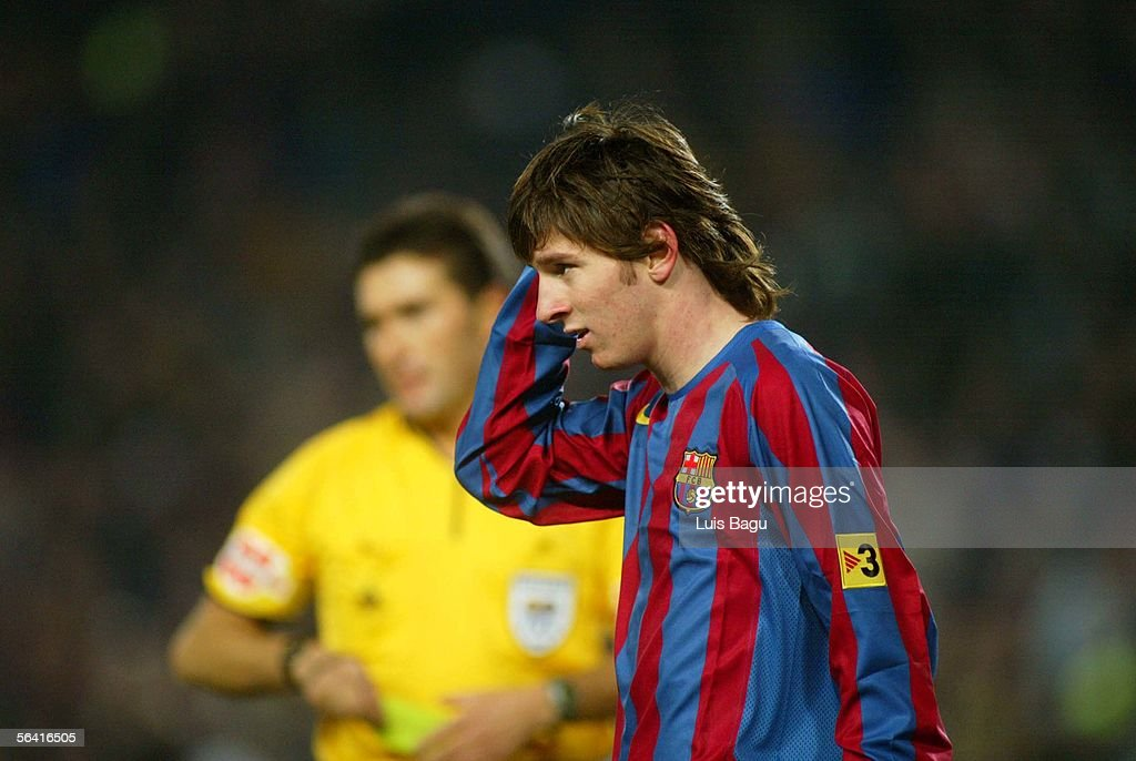 Leo Messi of Barcelona is seen during the Primera Liga match between FC Barcelona and Sevilla on December 11, 2005 at the Camp Nou stadium in Barcelona, Spain.