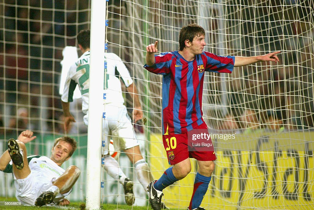 Leo Messi of FC Barcelona celebrates his goal during the UEFA Champions League group C match between FC Barcelona and Panathinaikos at the Camp Nou stadium on November 2, 2005 in in Barcelona, Spain.