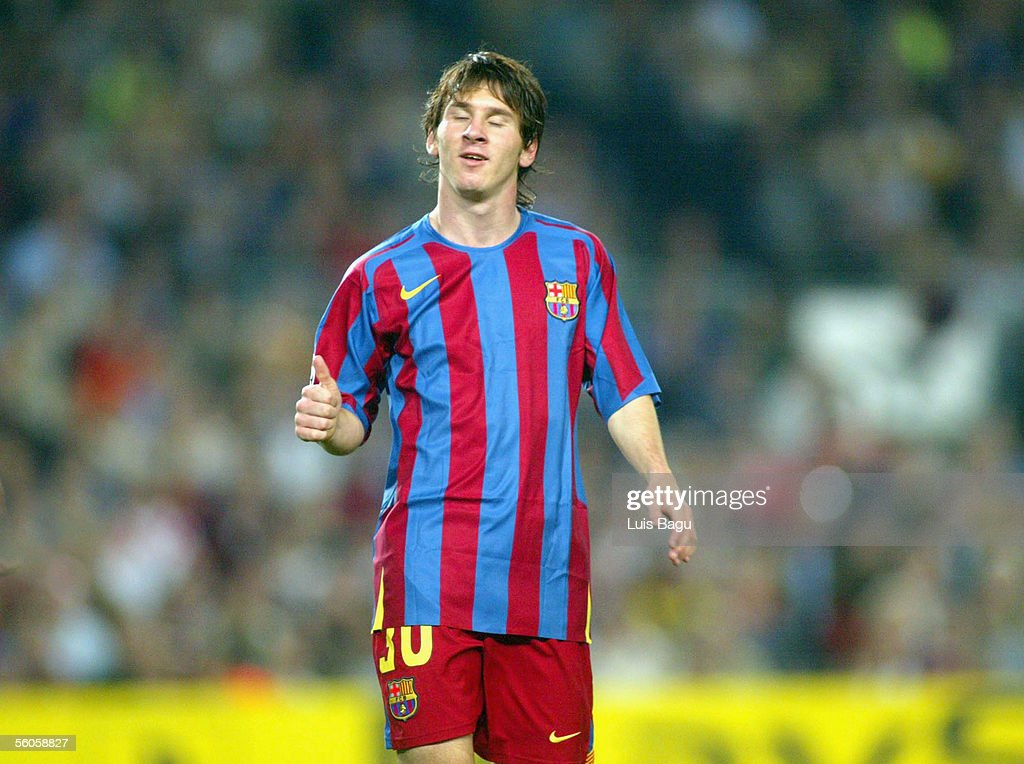 Leo Messi of FC Barcelona gestures during the UEFA Champions League group C match between FC Barcelona and Panathinaikos at the Camp Nou stadium on November 2, 2005 in in Barcelona, Spain.