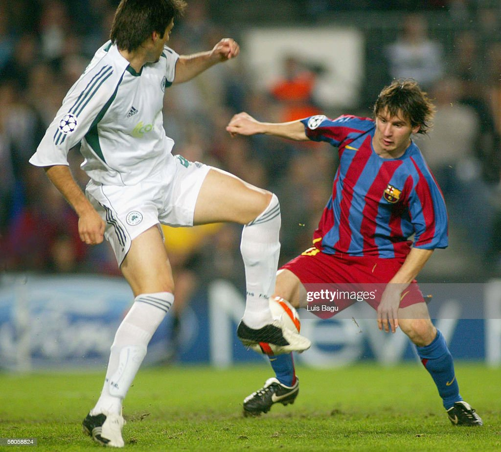 Leo Messi (R) of FC Barcelona in action during the UEFA Champions League group C match between FC Barcelona and Panathinaikos at the Camp Nou stadium on November 2, 2005 in in Barcelona, Spain.