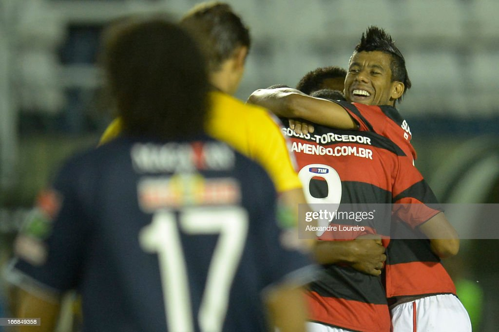 Leo Moura of Flamengo celebrates a goal during the match between Flamengo and Remo as part of Brazil Cup 2013 at Raulino de Oliveira Stadium on April 17, 2013 in Rio de Janeiro, Brazil.