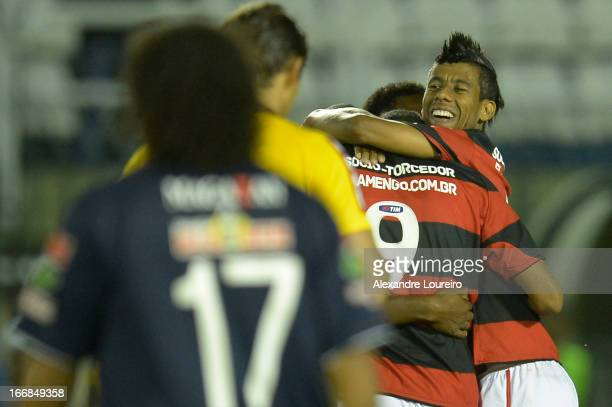 Leo Moura of Flamengo celebrates a goal during the match between Flamengo and Remo as part of Brazil Cup 2013 at Raulino de Oliveira Stadium on April...