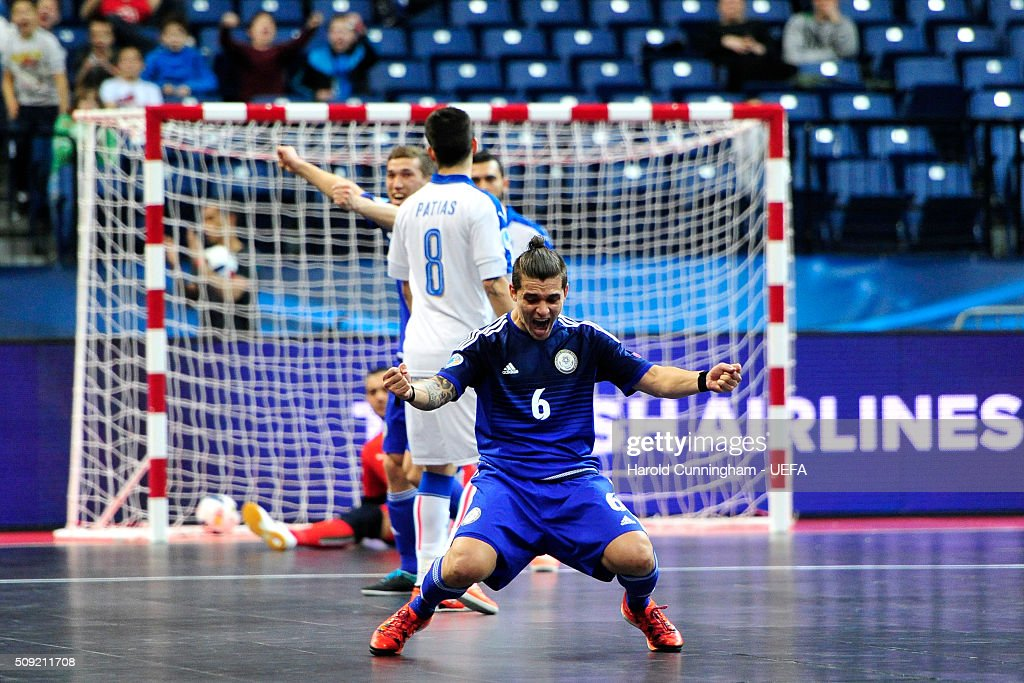 Leo of Kazakhstan celebrates scoring his team first goal during the UEFA Futsal EURO 2016 quarter final match between Kazakhstan and Italy at Arena Belgrade on February 9, 2016 in Belgrade, Serbia.