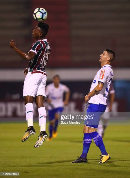 Leo Pele of Fluminense struggles for the ball with Thiago Neves of Cruzeiro during a match between Fluminense and Cruzeiro as part of Brasileirao...