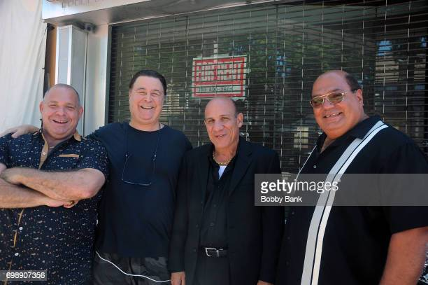 Leo Rossi Paul BenVictor and Louis Lombardi on the set of 'The Neighborhood' on June 20 2017 in New York City