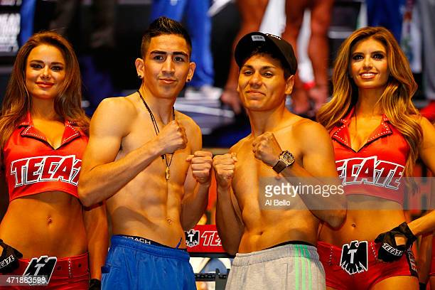 Leo Santa Cruz and Jose Cayetano pose during their official weighin on May 1 2015 at MGM Grand Garden Arena in Las Vegas Nevada The two will face...
