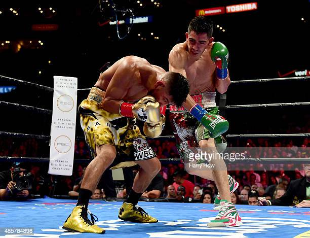 Leo Santa Cruz punches Abner Mares of Mexico during the sixth round of the WBC diamond featherweight and WBA featherweight championship bout at...