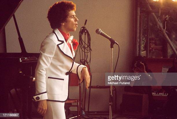 Leo Sayer performs on stage at Crystal Palace London 27th July 1974