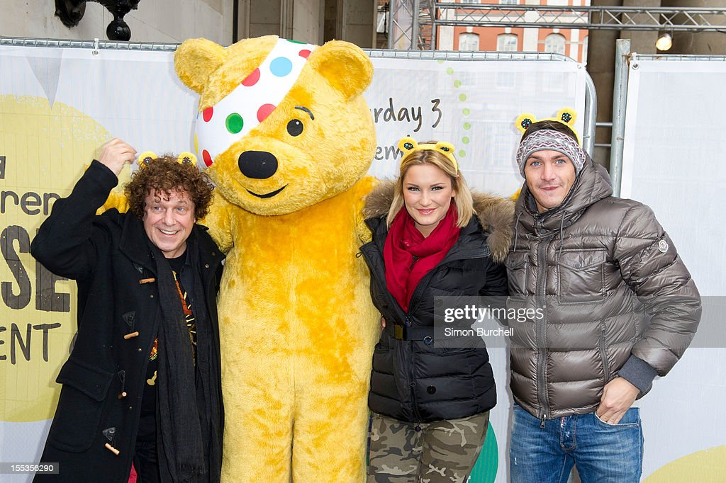 Leo Sayer, Pudsey, Sam Faiers and Kirk Norcross attend the BBC Children In Need Pudsey Street event at Covent Garden on November 3, 2012 in London, England.