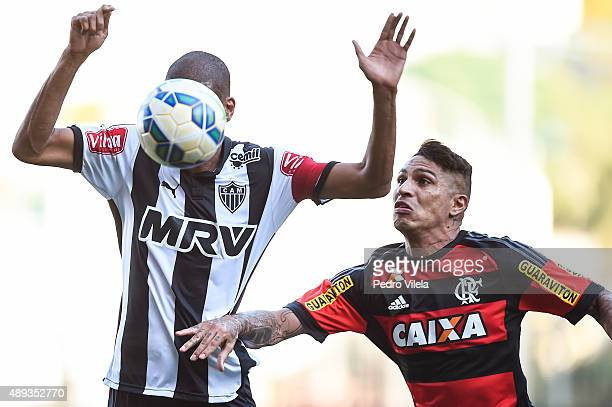 Leo Silva of Atletico MG and Guerrero of Flamengo battle for the ball during a match between Atletico MG and Flamengo as part of Brasileirao Series A...