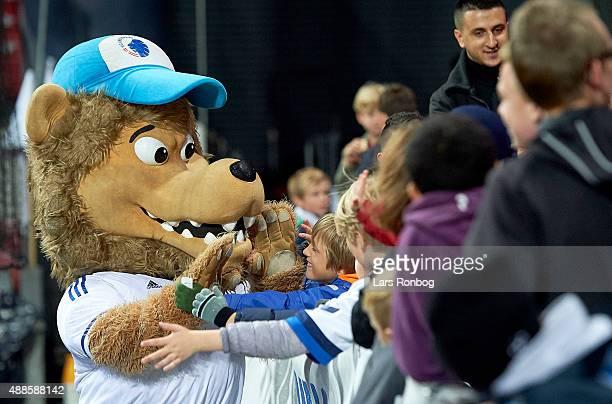 Leo the Lion mascot of FC Copenhagen cheer with youth fans of FC Copenhagen during the Danish Alka Superliga match between FC Copenhagen and Randers...