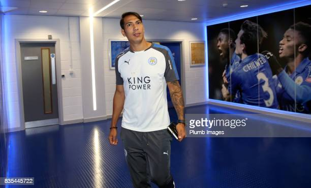 Leo Ulloa arrives ahead of the Premier League match between Leicester City and Brighton and Hove Albion at King Power Stadium on August 19 2017 in...