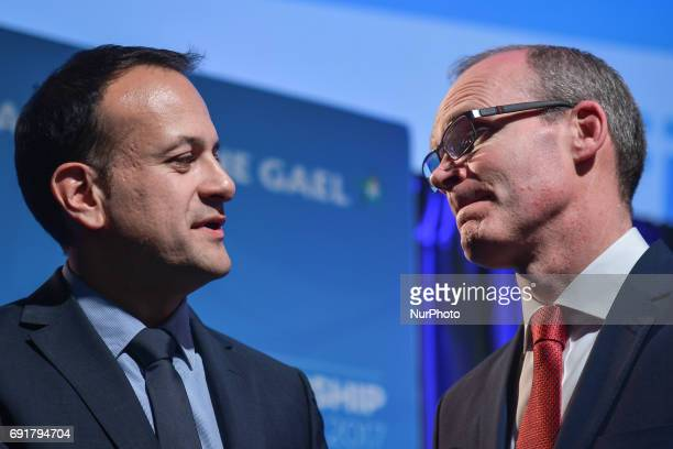 Leo Varadkar and Simon Coveney inside the Mansion House in Dublin where Varadkar was elected the new leader of Fine Gael and on course to become...