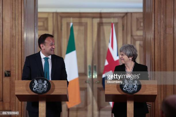 Leo Varadkar Ireland's prime minister left speaks as Theresa May UK prime minister looks on during a joint news conference inside number 10 Downing...