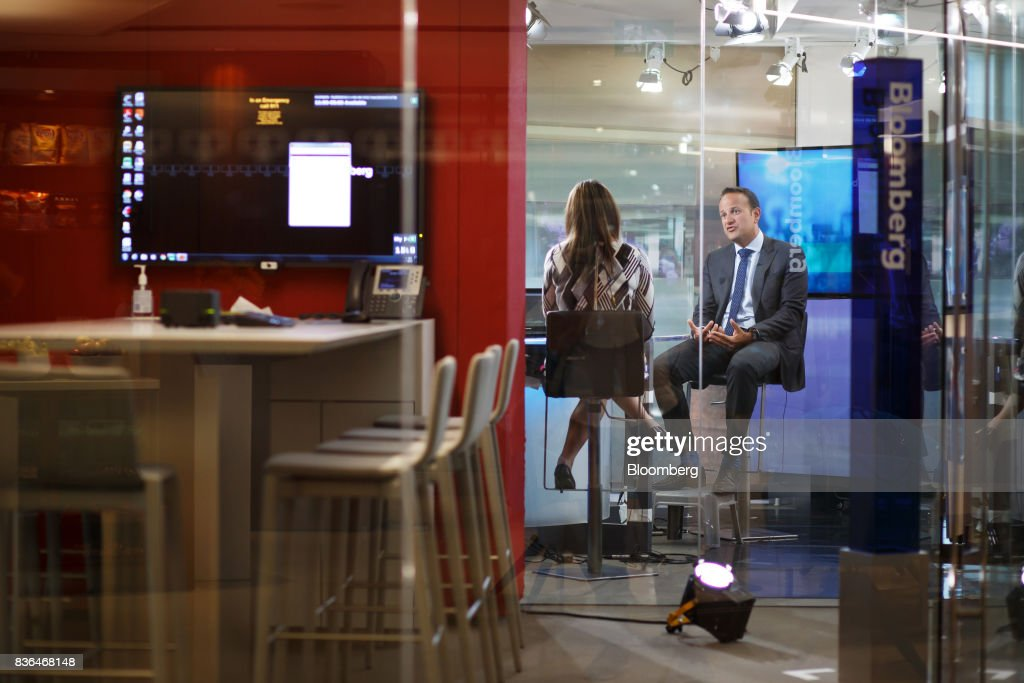 Leo Varadkar, Ireland's prime minister, right, speaks during a Bloomberg Television interview in Toronto, Ontario, Canada on Aug. 21, 2017. Varadkar said he remains 'confused and puzzled' about the U.K.'s global trading plans after Brexit, as the clock ticks down in talks on the terms of Britain's exit from the European Union. Photographer: Cole Burston/Bloomberg via Getty Images