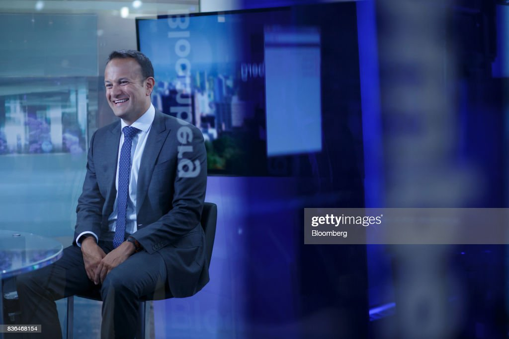 Leo Varadkar, Ireland's prime minister, smiles during a Bloomberg Television interview in Toronto, Ontario, Canada on Aug. 21, 2017. Varadkar said he remains 'confused and puzzled' about the U.K.'s global trading plans after Brexit, as the clock ticks down in talks on the terms of Britain's exit from the European Union. Photographer: Cole Burston/Bloomberg via Getty Images