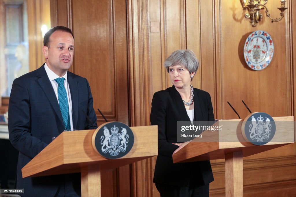 Leo Varadkar, Ireland's prime minister, speaks as Theresa May, U.K. prime minister, looks on during a joint news conference inside number 10 Downing Street in London, U.K., on Monday, June 19, 2017. TheRepublic of Irelandis the Northern Ireland's biggest trading partner outside Britain. Photographer: Simon Dawson/Bloomberg via Getty Images