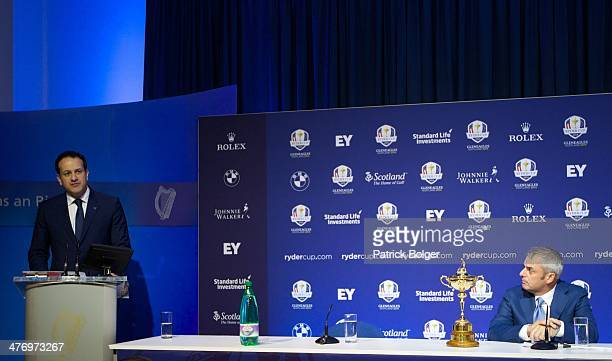 Leo Varadkar Minister for Transport Tourism and Sport and Paul McGinley European Ryder Cup Captain are pictured during a Ryder Cup Press Conference...