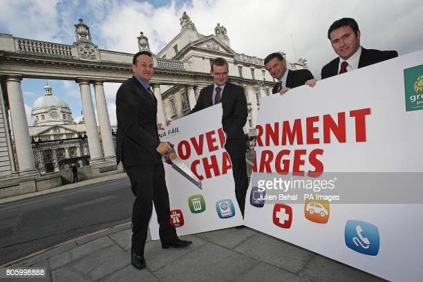 TD Leo Varadkar Senator John Paul Phelan TD John O'Mahony and TD Damian English take part in a Fine Gael photocall outside Government Buildings to...