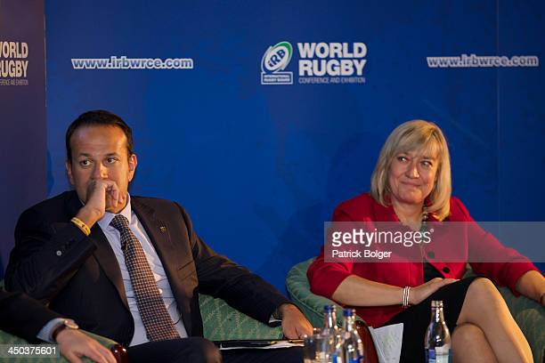 Leo Vardadkar TD Minister for Transport Tourism and Sport Ireland and Debbie Jevans CBE Chief Executive England Rugby 2015 pictured at the iRB World...