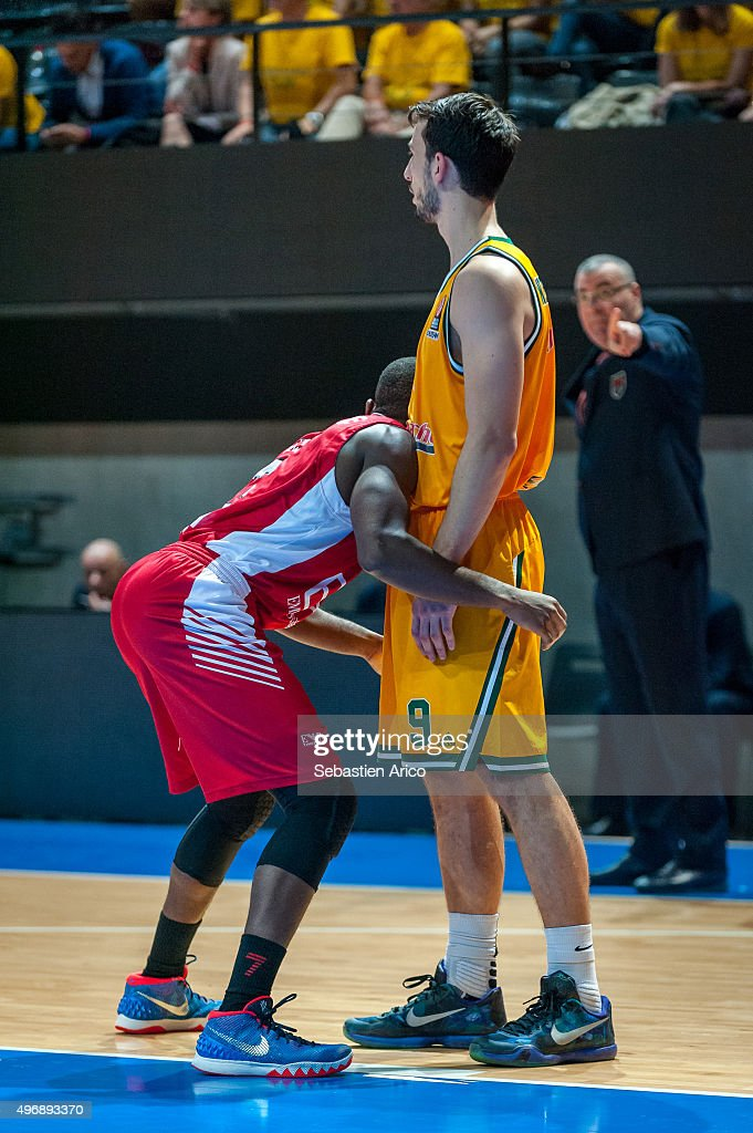 Leo Westermann #9 of Limoges CSP competes with Charles Jenkins #22 of EA7 Emporio Armani Milan during the Turkish Airlines Euroleague Regular Season...