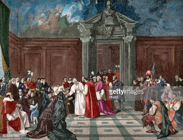 Leo XIII Italian Pope named Vincenzo Gioacchino Pecci Audience at the Vatican Engraving in The Iberian Illustration 1888 Colored