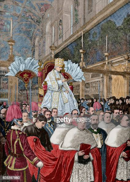 Leo XIII Italian Pope named Vincenzo Gioacchino Pecci Pope Leo XIII giving a blessing Urbi et Orbi after the Pontifical Mass from the gestatorial...