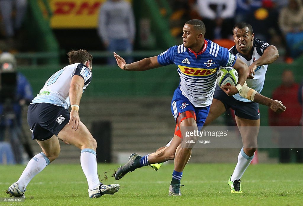Leolin Zas of the Stormers during the Super Rugby match between DHL Stormers and Waratahs at DHL Newlands Stadium on April 30, 2016 in Cape Town, South Africa.