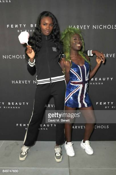 Leomie Anderson and Bree attend the Fenty Beauty x Harvey Nichols Launch at Harvey Nichols on September 19 2017 in London England