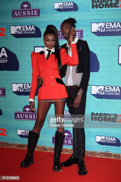 Leomie Anderson and Lancey Foux attend the MTV EMAs 2017 held at The SSE Arena Wembley on November 12 2017 in London England