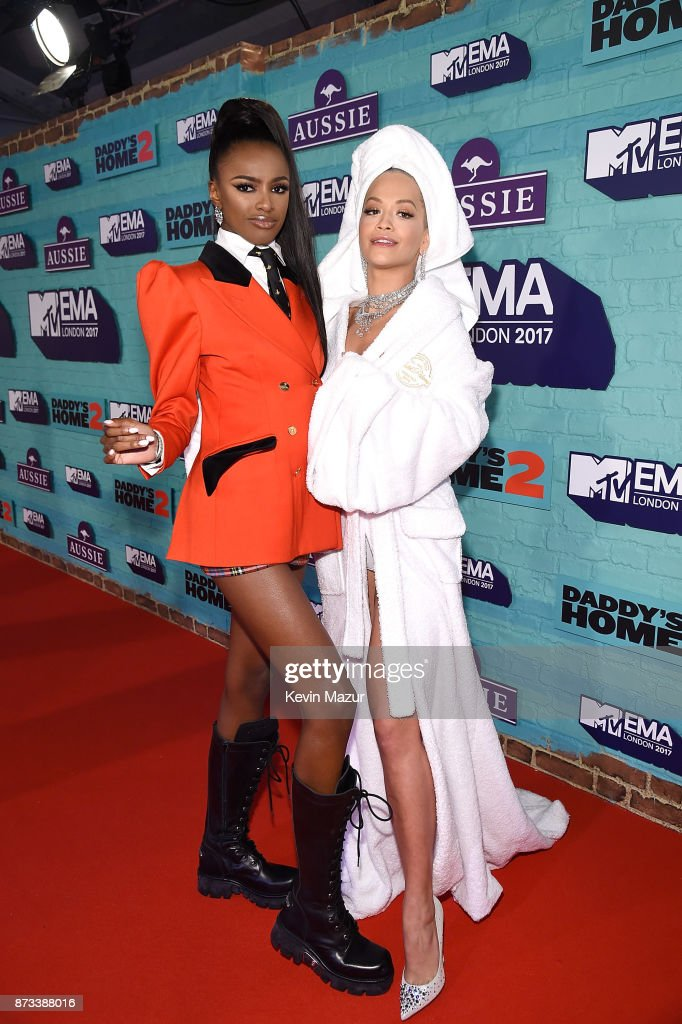 Leomie Anderson and Rita Ora attend the MTV EMAs 2017 held at The SSE Arena, Wembley on November 12, 2017 in London, England.