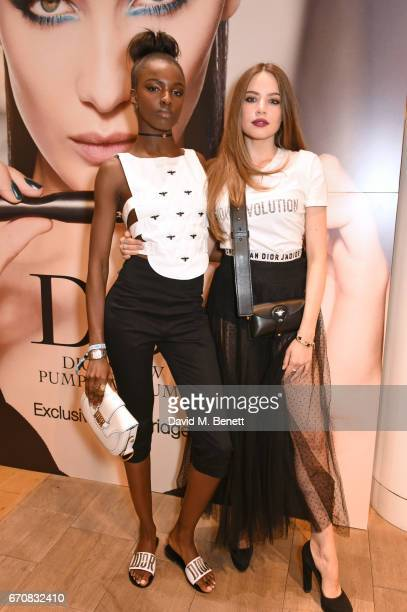 Leomie Anderson and Xenia Tchoumi attend the launch of the Dior Pump 'N' Volume Mascara with Dior spokesmodel Bella Hadid at Selfridges on April 20...