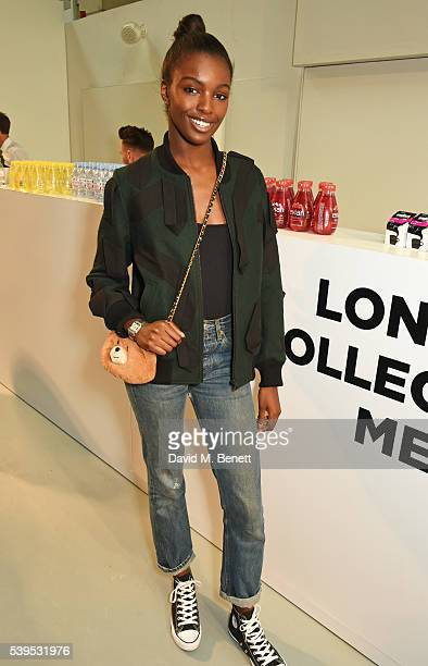 Leomie Anderson attends the Christopher Raeburn show during The London Collections Men SS17 at BFC Show Space on June 12 2016 in London England