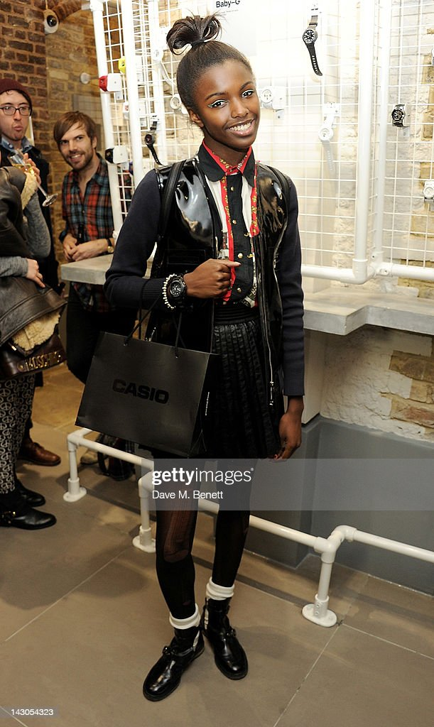 Leomie Anderson attends the launch of Casio London's Global Concept Store in Covent Garden Piazza on April 18, 2012 in London, England.