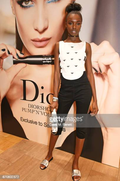 Leomie Anderson attends the launch of the Dior Pump 'N' Volume Mascara with Dior spokesmodel Bella Hadid at Selfridges on April 20 2017 in London...
