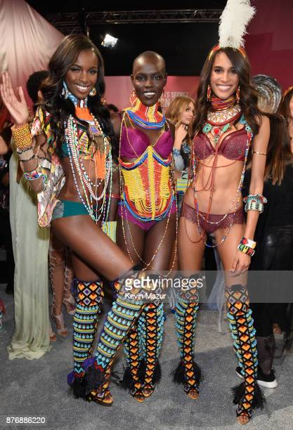 Leomie Anderson Grace Bol and Cindy Bruna backstage during 2017 Victoria's Secret Fashion Show In Shanghai at MercedesBenz Arena on November 20 2017...