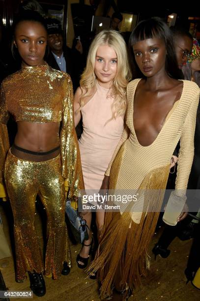 Leomie Anderson Lottie Moss and guest at the LOVE and Burberry London Fashion Week Party at Annabel's celebrating Katie Grand and Kendall Jenner's...