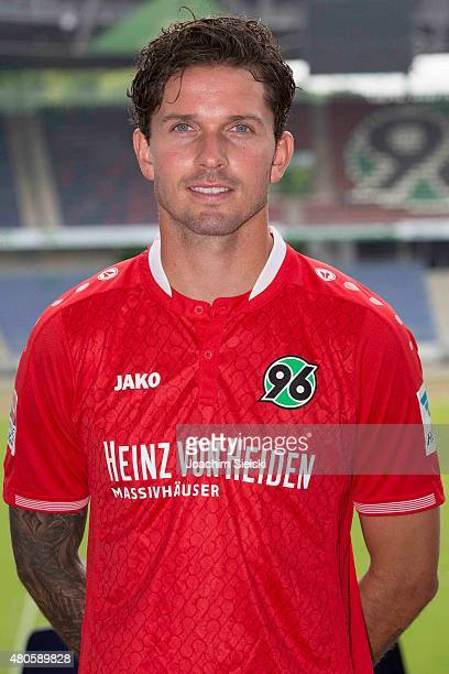 Leon Andreasen poses during the team presentation of Hannover 96 at HDIArena on July 13 2015 in Hanover Germany