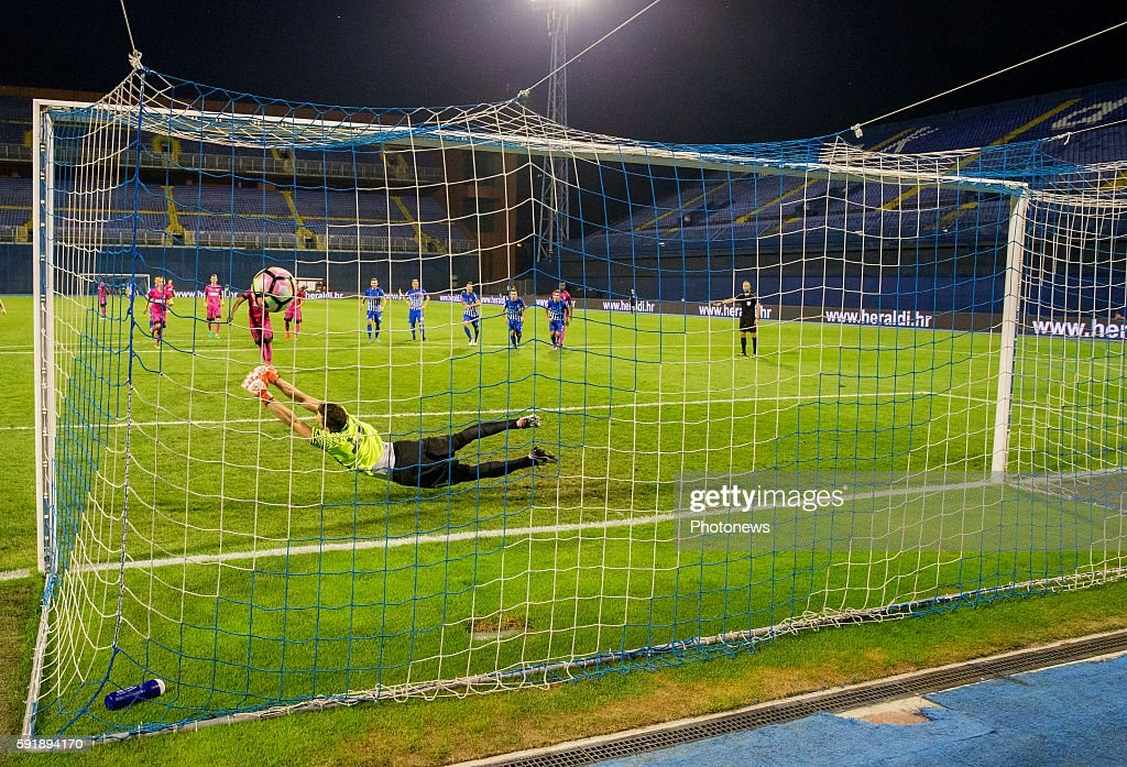 Leon Bailey forward of Krc Genk during UEFA Europa League play off round 1st Leg match between Lokomotiva Zagreb and KRC Genk on August 18 2016 in...