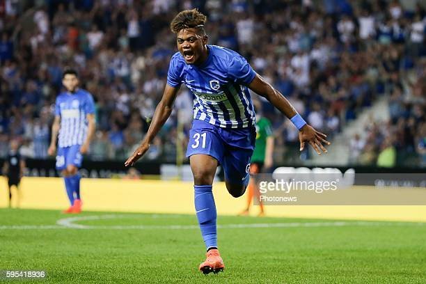 Leon Bailey forward of KRC Genk pictured celebrating scoring a goal during the UEFA Europa League Playoffs second leg match between KRC Genk and...