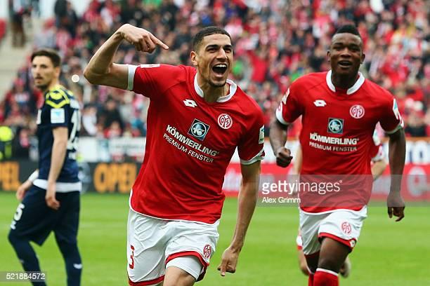 Leon Balogun of Mainz celebrates his team's second goal with team mate Jhon Cordoba during the Bundesliga match between 1 FSV Mainz 05 and 1 FC Koeln...