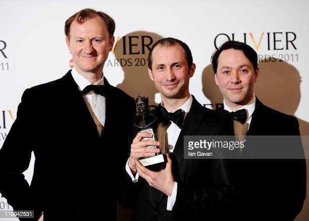 Leon Baugh winner of Best Theatre Choreographer for 'Sucker Punch' poses with Mark Gatiss and Reece Shearsmith in the press room during The Olivier...