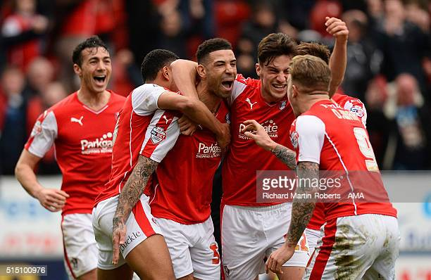 Leon Best of Rotherham United celebrates with his teammates after he scored his team's third goal to make the score 33 during the Sky Bet...
