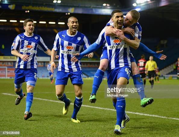 Leon Best of Sheffield Wednesday celebrates scoring to make it 20 with team mates during the Sky Bet Championship match between Sheffield Wednesday...