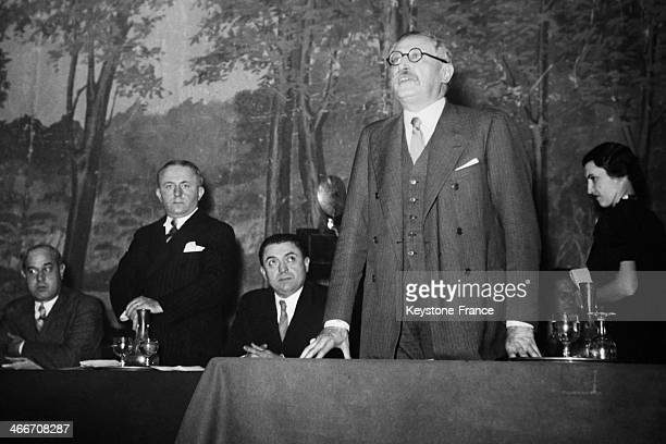 Leon Blum held a speach during french Socialist national Concil in Paris on November 9 1936